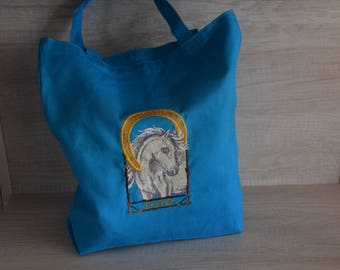 Embroidered Horse Tote Bag