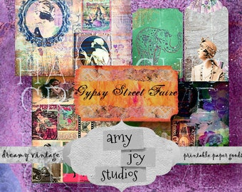 DIY Journal  Gypsy Street Faire  Digital Journal Kit  Boho Journal  Printable bohemian  Junk Journal Vintage   Smashbook  Ephemera Pack