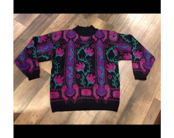 80's pink, purple and green vintage sweater - made by Koret - size Large