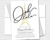 Parisian Themed Bridal Shower, Customizable Digital or Printed Bridal Shower Invitation