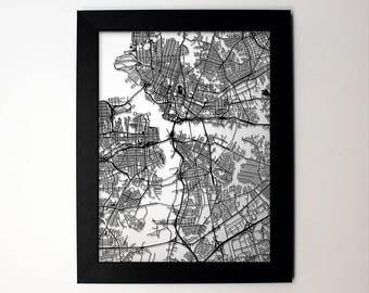 Norfolk Virginia laser cut street map modern art - custom city map wall decor graduation engagement wedding gift