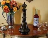 Vintage Genie Bottle, Dark Grey, Olive Green Genie Bottle, Retro Decanter, Middle Eastern Style Liquor Decanter, Jim Beam Decanter, Barware