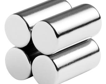 1/2 x 1 (12.7 x 25.4) Neodymium Rare Earth Cylinder/Rod Magnets N42 (4 Pack)