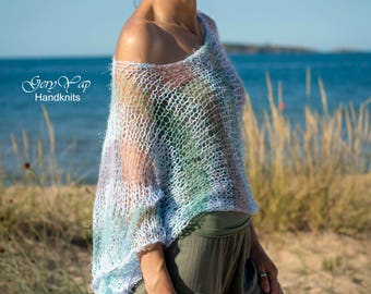Summer cropped hand knitted sweater / lightweight mohair shrug / loose knit top / beach women's garment / hand made / ready to ship