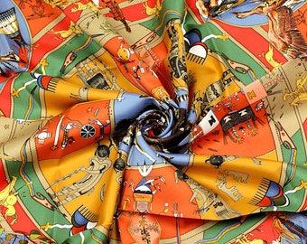 """HERMES SCARF Silk """"Mythologies des Hommes Rouges"""" by Kermit Oliver Vintage 90cm Carre 100% Auth"""