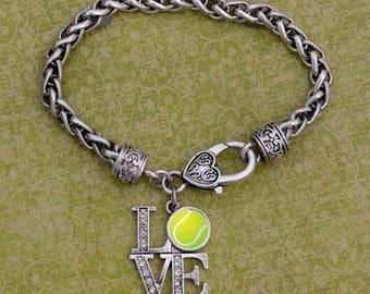 LOVE Tennis Rhinestone Charm Bracelet