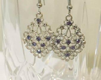 Purple and Silver Filigree Earrings