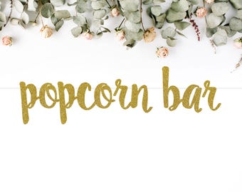 POPCORN BAR (S7) - glitter banner / snack bar / desserts / candy / table decoration