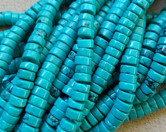 """Natural Sinkiang Turquoise Flat Round Heishi Beads, Dyed and Heated 6 x 3mm - 15.5"""" Strand"""