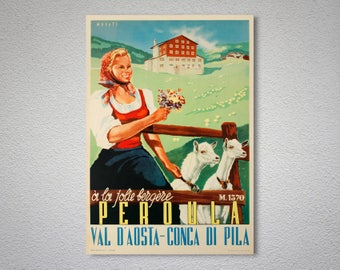 Peroula Val d'Aosta - Conca di Pila Vintage Travel Poster - Poster Print, Sticker or Canvas Print