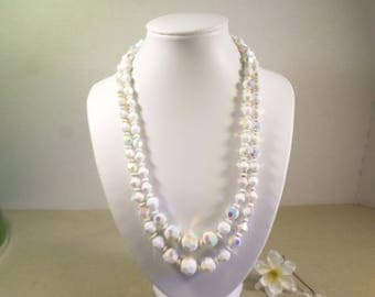 Beautiful Vintage Gold Tone Double Strand White Iridescent Faceted Glass Beaded Necklace  DL#2865