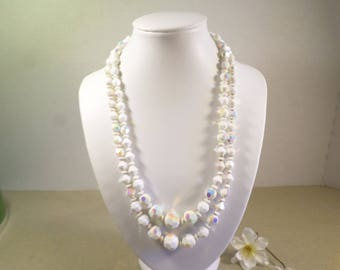 PROM BRIDAL! Beautiful Vintage Gold Tone Double Strand White Iridescent Faceted Glass Beaded Necklace  DL# 4711