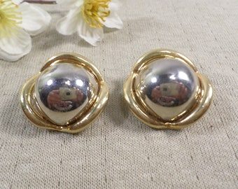 Beautiful Vintage Silver And Gold Tone Pair Of Clip On Earrings DL# 4804