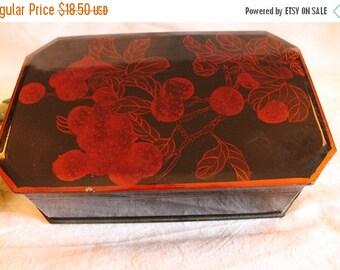 SALE Chinese Hand Painted Wooden Keepsake Box