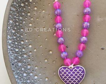 Kids Heart Necklace | Purple & Pink