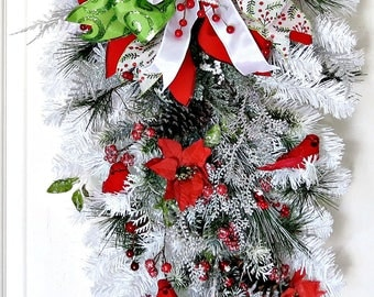 White Winter Swag, White Christmas Swag, Winter Wreath for Front Door