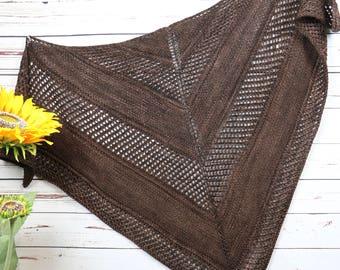 Dark brown merino wool knit shawl, Malabrigo Rios wool wrap, XL brown openwork triangle scarf, tall woman's large triangle wrap