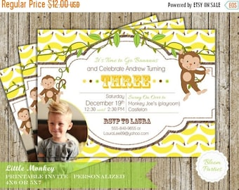 SALE LIMITED TIME Monkey Party Invite - Little Monkey First Birthday Invitation Baby Boy Bananas Swing on Over Digital Printable