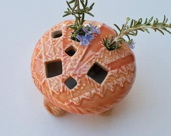 "Flower ""Pillow"" Vase - Intricate Floral Pattern in ""Sunset Orange"" glaze, Modern Home Decor"
