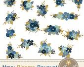 50% OFF Navy Blue Flower Bouquet Clipart, Wedding Flowers, Flower Bunches, Floral Arrangement for digital Scrapbooking, Wedding, In