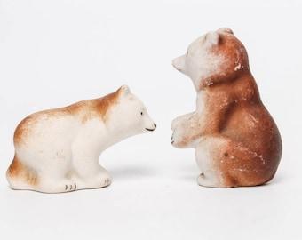Set of 2 Vintage Porcelain Figurines, Statuettes, Bear family