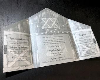 Shimmer Whitewash Sepia Barn Wedding Invitation • Barn Wedding Invitation • Barn • Optional postcard response card • Rustic