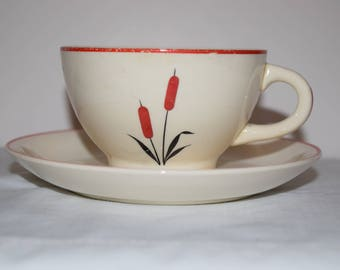 Coffee Cup And Saucer Set 1940's USA Universal Cambridge Red Cattail, Universal Pottery Cambridge, Ohio  Pottery