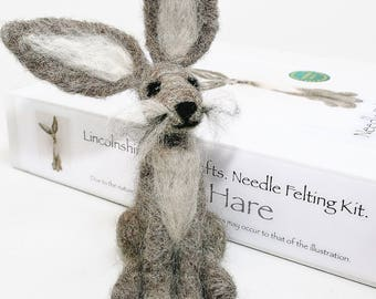 Hare needle felting kit - Grey hare beginners felting kit - gift for crafters