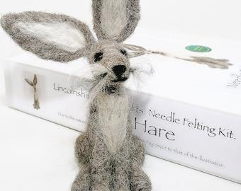 Hare needle felting kit for beginners/Grey hare felting kit