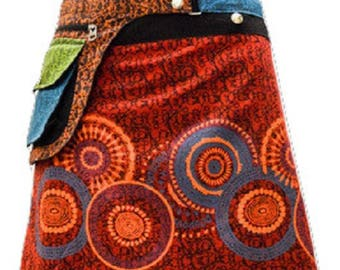 Reversible Hippie Patchwork Abstract Floral Detachable Pocket Wrap Skirt Red