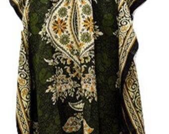 Plus Size Abstract Paisley Floral Summer Print Drawstring Batwing Sleeve Kaftan Dark Green