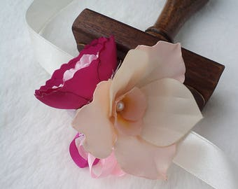 Orchella Wrist Corsage - pink-cream wedding fabric flower with peony and orchid flowers, FREE SHIPPING