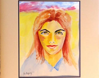 """This lovely lady is memorialized in this bright portrait.  Matted and ready for framing (16x20"""".)"""