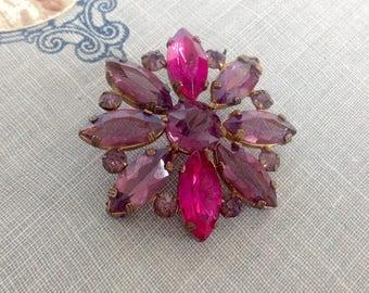 Vintage Czech Crystal Brooch Purple Pink Flower