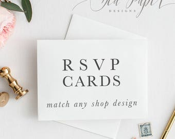 Printed RSVP Cards or Postcards - Made to Match Any Design in the Shop - Sea Paper Designs