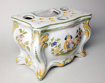 French Vintage Vase in Moustiers Faience - Vintage French Hand-Painted  Moustiers Bouquetiere