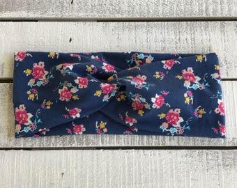 Bohemian Floral Turban Headband, Wide Floral Headband, Wide Adult Headband, Floral Headband, Twist Headband