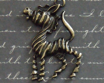 Large zebra charm bronze 34x42mm