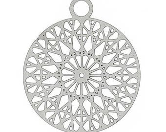 2 large print rosette 22mm silver metal charms