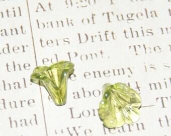 2 green flowers acrylic transparent 15x12mm