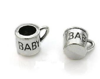 2 charms 12x9mm silver plated baby Cup