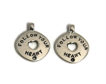 """2 round pendants """"Follow your heart"""" Silver 25mm"""
