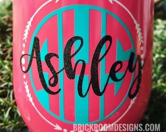 Vinyl Monogram Decal || Yeti Monogram Decal, Name Decal, Monogram Car Decal, Yeti Name Decal, Cooler Monogram, Personalized Monogram Decal