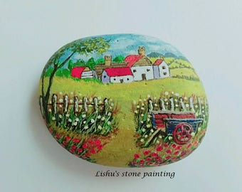 Hand painted stone, stone painting, Beautiful village