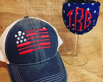 Fourth of July distressed trucker hat and wine koosie! Embroidered with canoe flag and monogram! 'Merica Usa Paddle personalized and so cute