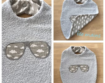 Cotton bib with organic blue sunglasses with grey print white clouds