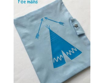 Health Book blue cotton with blue tent or teepee
