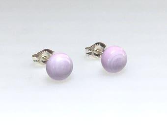 Earrings - Handmade Fused Glass Stud Earrings, Lilac Glass and Sterling Silver Stud Earrings