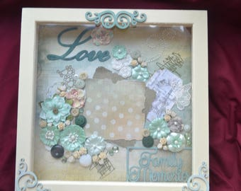 "12"" x 12"" Love Photo Frame shabby chic style, hand decorated"