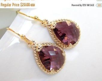 SALE Wedding Jewelry, Bridesmaid  Jewelry,Plum Earrings,Eggplant, Purple, Burgundy, Bridesmaid Gifts, Bridesmaid Earrings, Drop, Gold, Gifts
